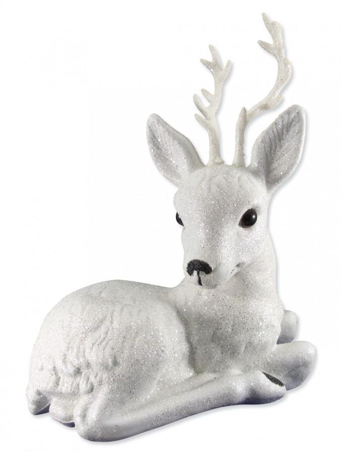 Large Sitting Glittered Reindeer Ornament 34cm