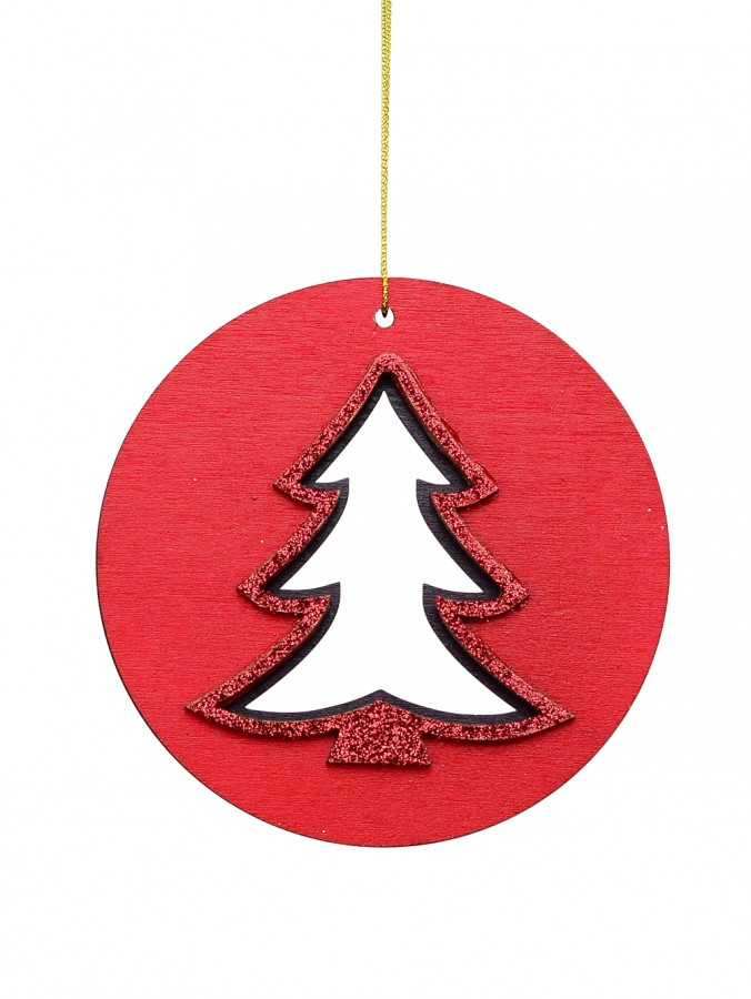 Red Wood Christmas Tree Silhouette Medallion Hanging Decoration - 10cm