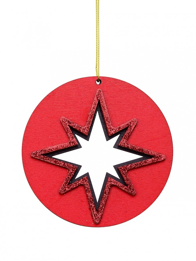 Red Wood Star Of Bethlehem Silhouette Medallion Hanging Decoration - 10cm
