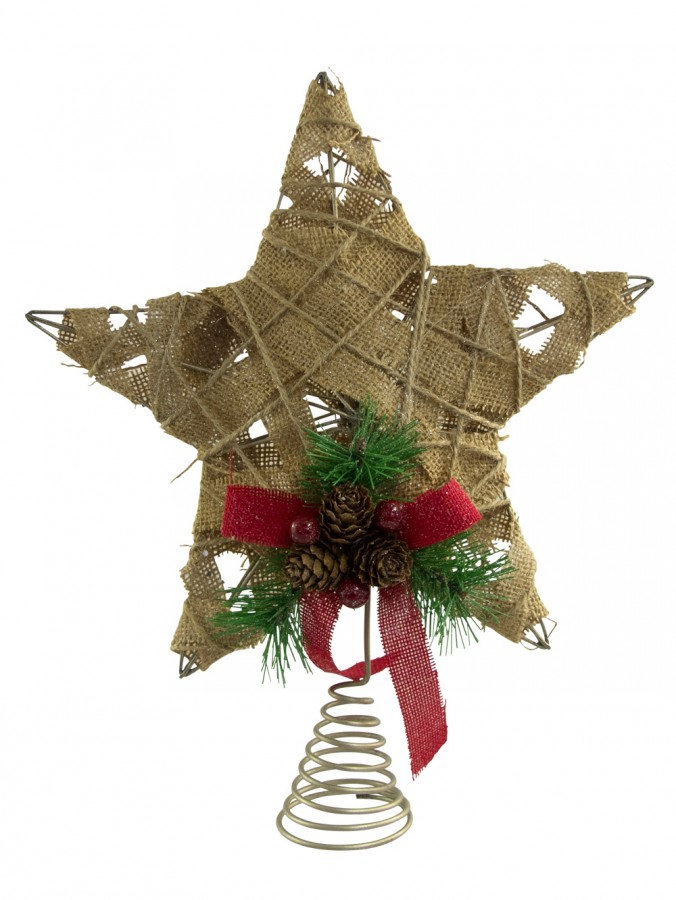 Hessian jute 3d star tree top decoration 30cm for 3d christmas decoration