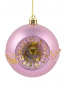 Matte Pink Baubles With Concave Side, Sequins & Frost Look Stripe - 4 x 80mm