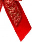 Large Red Felt Double Bow With Gold Glitter Pattern Display Decoration - 48cm