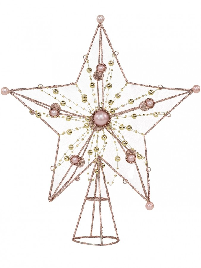 Pink Glittered 3D Star With String Beads & Pearls Tree Topper Ornament - 33cm