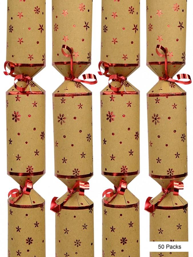 Snowflake & Star Design Craft Paper Christmas Cracker Bon Bons - 50 x 28cm