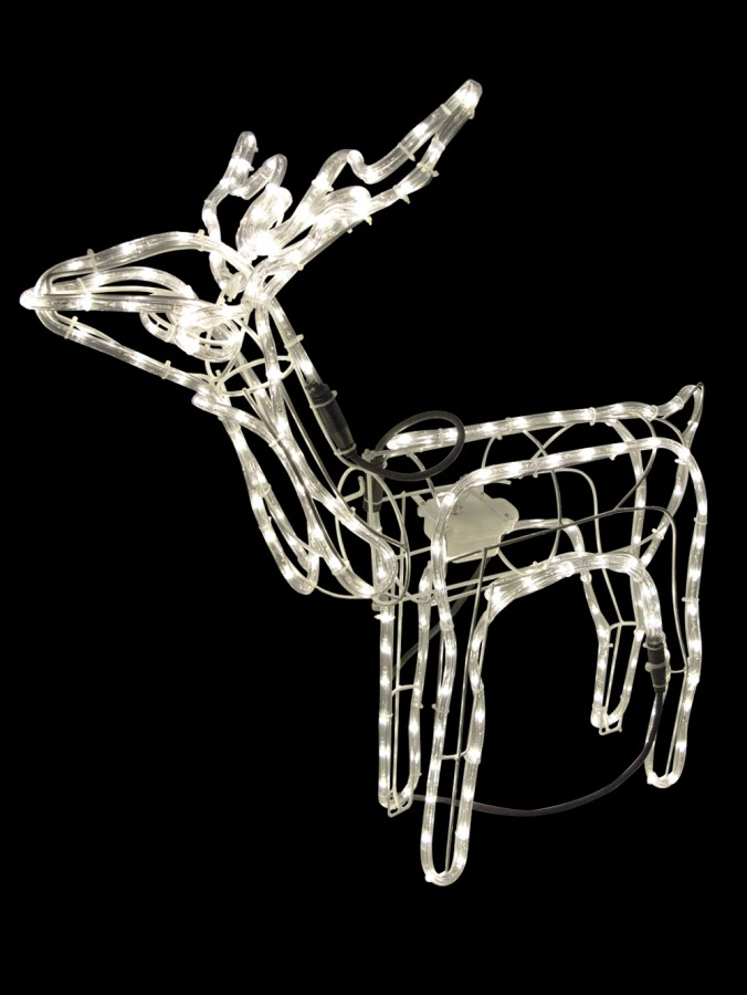 Warm White LED 3D Standing Buck Rope Light Display - 76cm