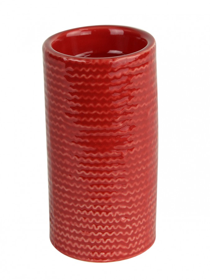 Tall Red Ceramic Pillar Tea Light Holder - 12cm