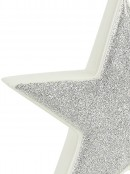White With Silver Glitter Free Standing Star Ceramic Christmas Ornament - 17cm