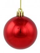 Metallic Red, Matte Green & Gold Glittered Design Baubles - 27 x 60mm