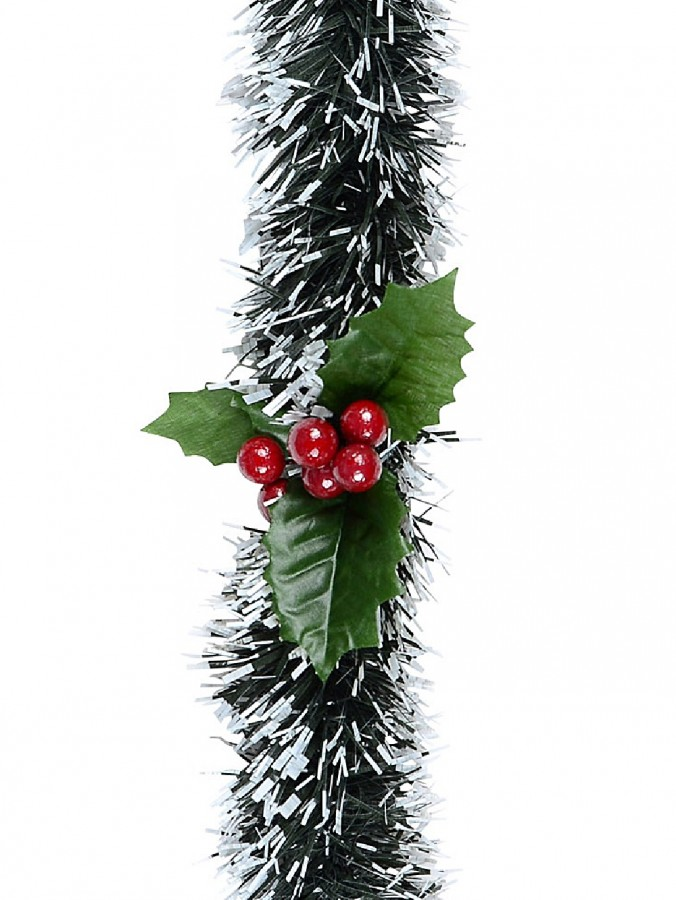 White Tip Pine Needle With Holly Christmas Tinsel Garland  - 2.7m