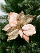 Two Style Pink & Gold Decorative Poinsettia Floral Picks - 28cm