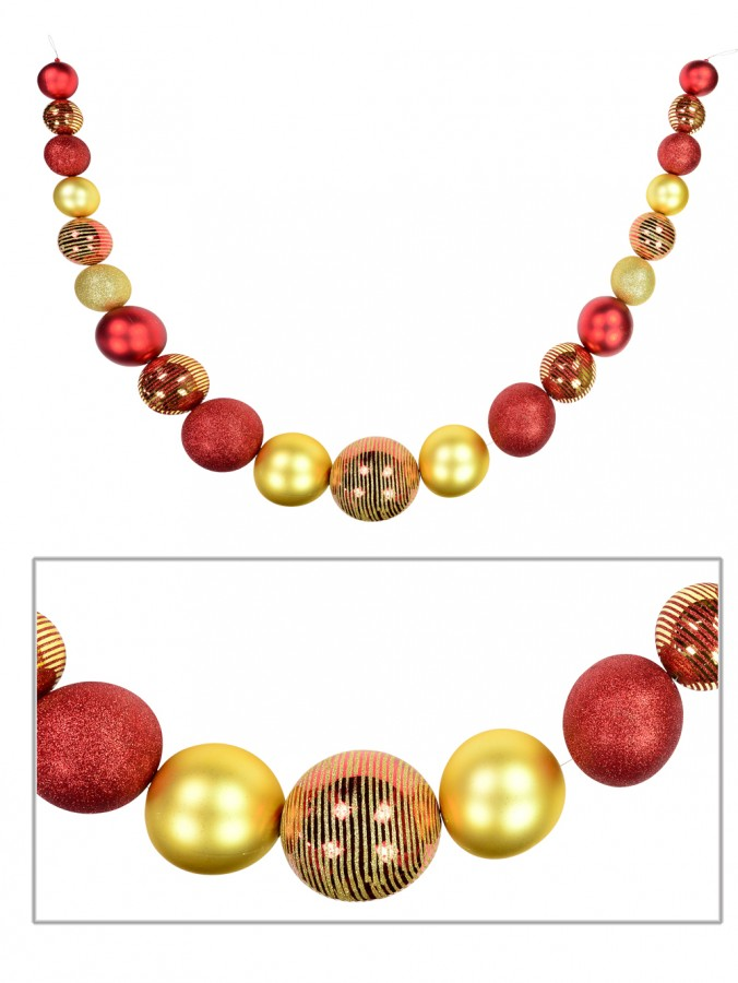 Red & Gold With Glitter Detailing Large Bauble Swag Display Decoration - 1.8m