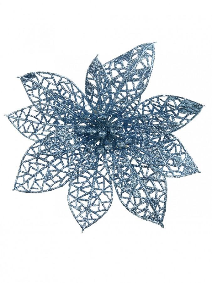 Tiffany Blue Dimensional Glittered Flower Pick - 14cm