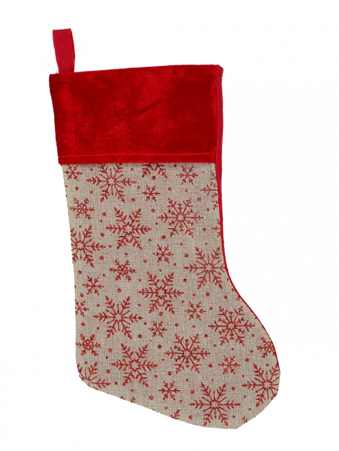 Natural Burlap With Glittered Snowflakes Pattern Christmas Stocking - 42cm