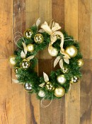 Decorated Gold & Champagne Bauble, Leaf Stem & Bow Pine Wreath - 45cm