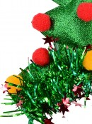 Green Christmas Tree Headband With Tinsel, Balls & Star Decorations - 17cm