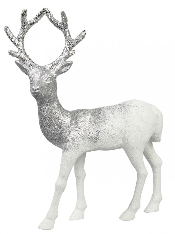 White With Silver Glitter Standing Reindeer Buck Ornament - 32cm
