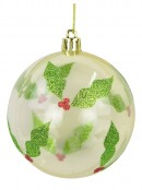 Holly Print Baubles In Pearl White & Clear Gold - 4 x 60mm