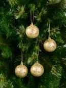 Gold Metallic Sequins & Glitter Coated Baubles - 12 x 60mm