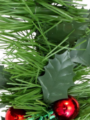 Holly Leaf & Red Metallic Berry Clusters Pine Christmas Tinsel Garland - 5m