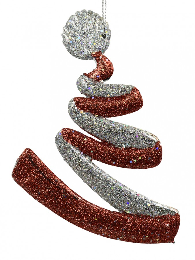 Red & Silver Flowing Ribbon Hanging Decoration With Ball - 13cm
