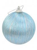 Blue With Silver Silk Thread Baubles - 8 x 75mm