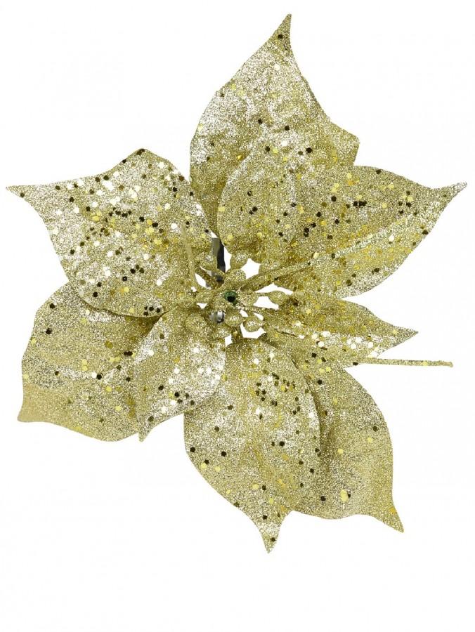 Champagne Gold Glittered Decorative Poinsettia Floral Pick - 17cm