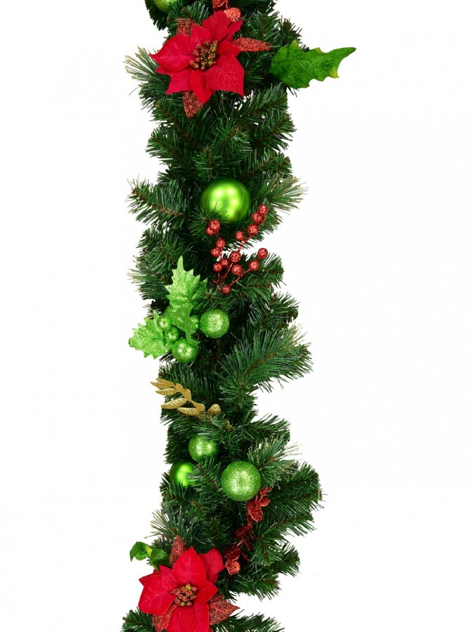 Decorated With Red Poinsettia, Mistletoe, Foliage & Baubles Pine Garland - 2.3m