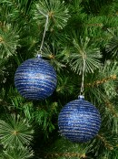 Blue Glittered Baubles With Silver Glittered Stripes - 4 x 80mm