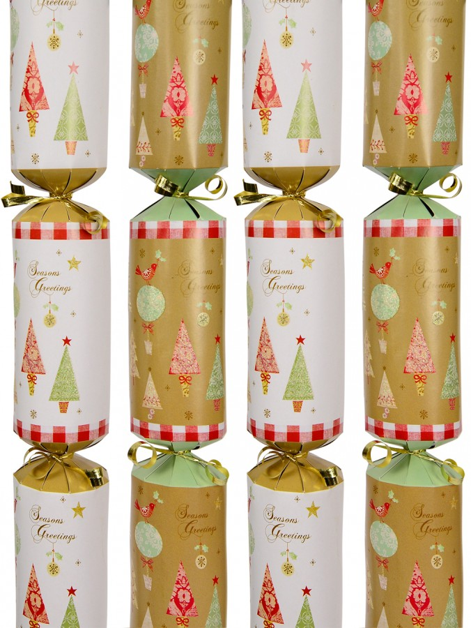 Gold & White With Trees, Birds & Decorations Bon Bons - 40cm x 6 Pack