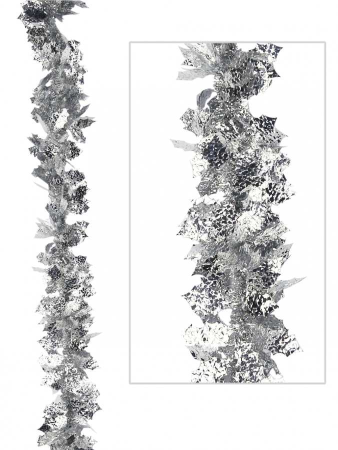 Silver holly leaf tinsel garland m garlands