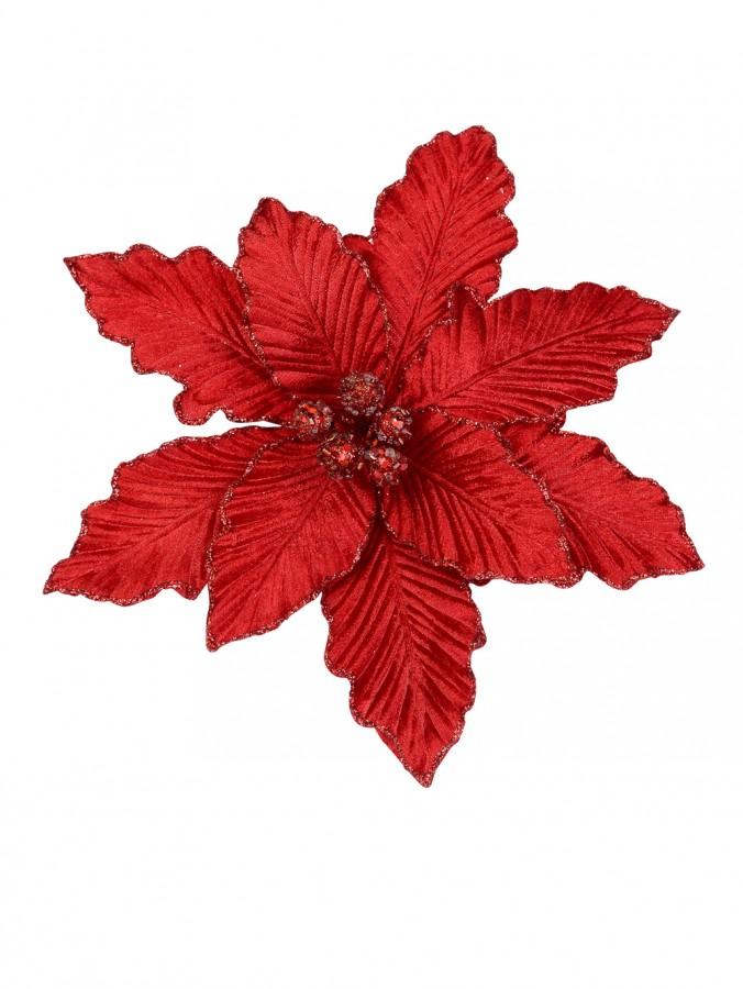 Red Poinsettia Clip On Pick - 25cm