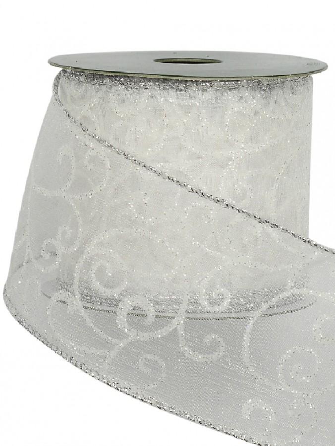 Silver Edged White Filigree Pattern Organza Christmas Ribbon - 3m