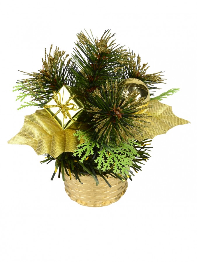 Gold Woven Basket with Greenery & Gift Standing Ornament - 16cm
