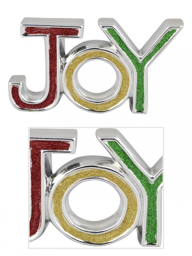 Ceramic Silver Border JOY Ornament With Glittered Colour Letters - 19cm