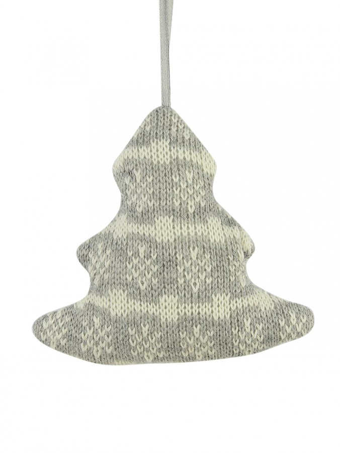 Grey Knitted Fabric Tree With Snowflake Pattern Hanging Ornament - 12cm