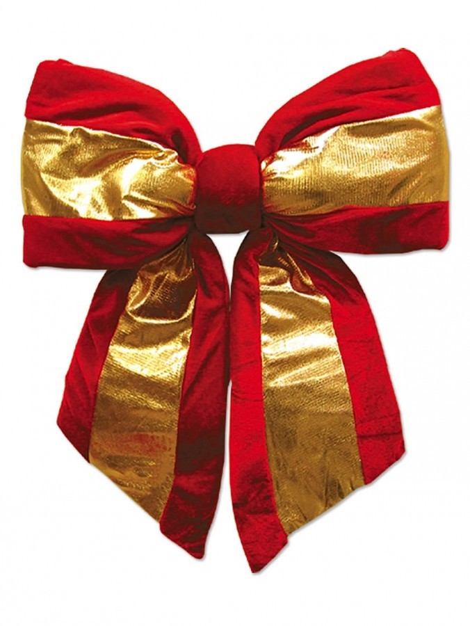 Large Red Velvet Bow With Gold Stripe - 45cm
