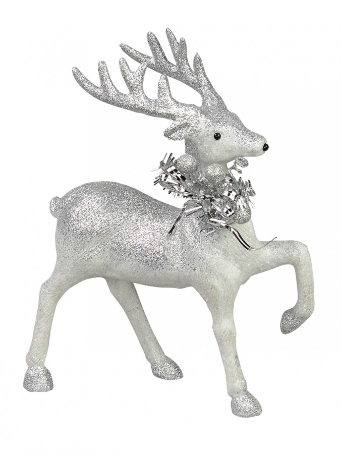 White With Silver Glitter Prancing Teen Reindeer Ornament