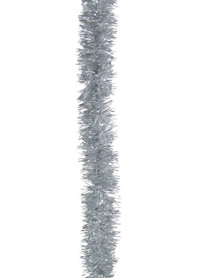 Silver Metallic 6ply Classic Christmas Tinsel Garland - 50mm x 5m