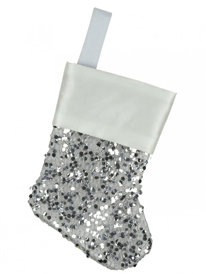 Mini Silver Sequin Christmas Stocking Hanging Decorations - 6 x 15cm