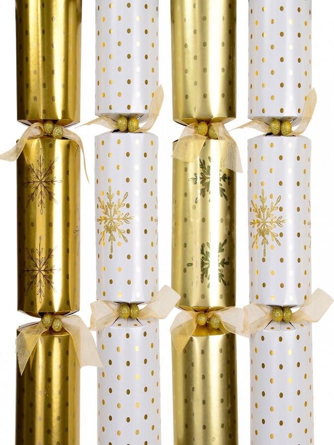 White & Gold With Dots & Snowflakes Design Bon Bons - 41cm x 6 Pack