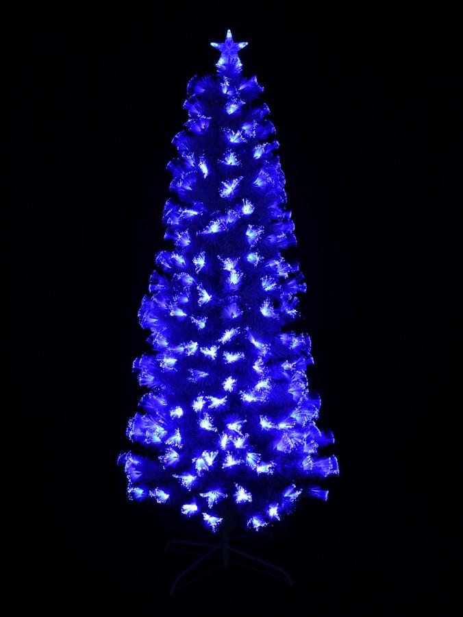 Blue & Cool White LED White Fibre Optic Christmas Tree - 1.8m