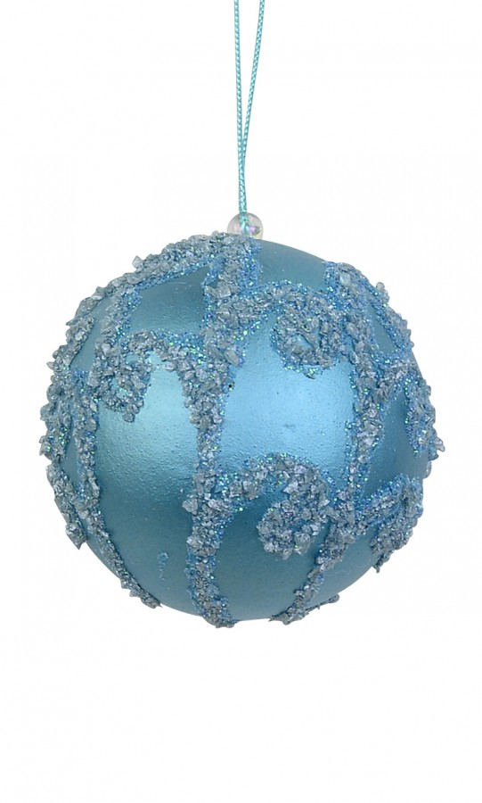 Ice Blue Bauble with Silver Encrusted Swirl - 8cm