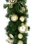 Decorated Gold & Champagne Bauble & Leaf Stem Pine Garland - 2.7m