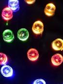 20 Multi Colour Concave LED Bulb Christmas String Battery Lights - 2.4m