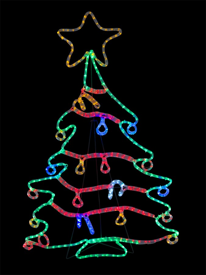 christmas tree with decorations led rope light silhouette 12m