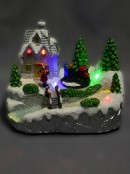 Illuminated & Animated Home By The River & Train Scene - 15cm