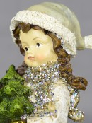 Girl with Christmas Tree Standing Ornament - 19cm