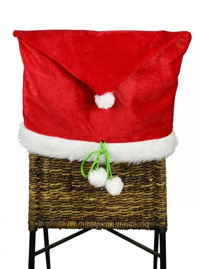 Merry Christmas Red Velvet Santa Hat Chair Cover