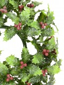 Lightly Frosted Green Wreath with Red Berries - 23cm
