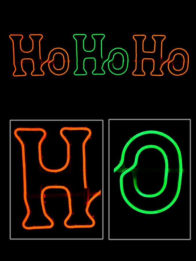Red & Green Ho Ho Ho Neon Rope Light Silhouette  - 1.3m